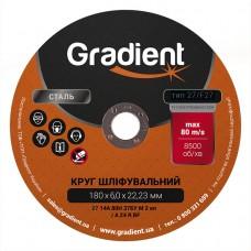 Круг шлифовальный GRADIENT 180x6,0x22,23 мм T27 (чашка)