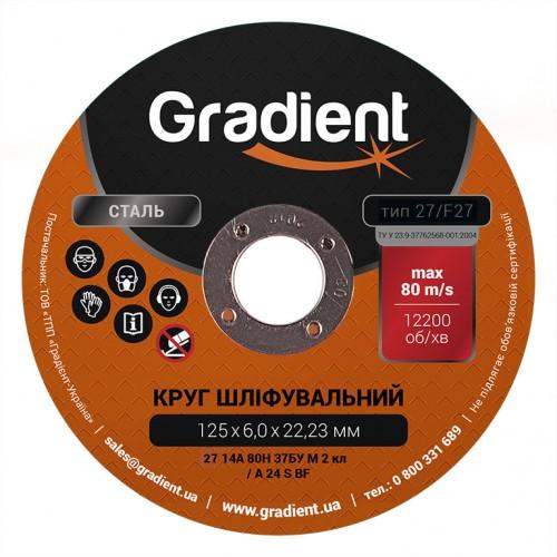 Круг шлифовальный GRADIENT 125x6,0x22,23 мм Т27 (чашка)